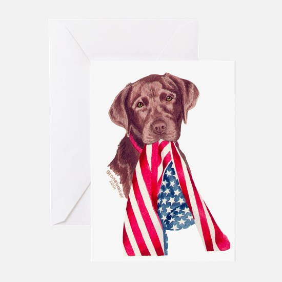 Patriotic Choc. Lab Greeting Cards (6)