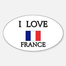 I Love France Oval Decal
