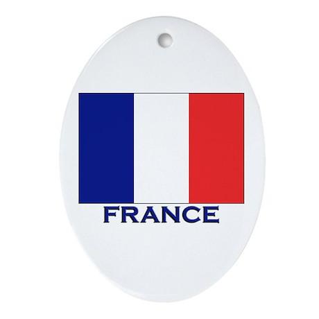 France Flag Merchandise Oval Ornament
