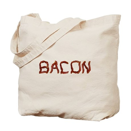bacon spelled with bacon Tote Bag