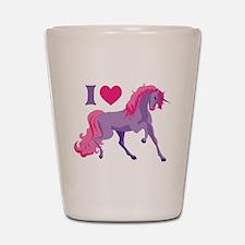 I Love Unicorns Shot Glass