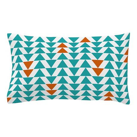 Triangles - Turquoise Orange Pillow Case