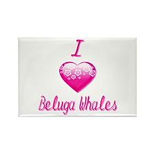 I Love/Heart Beluga Whales Rectangle Magnet