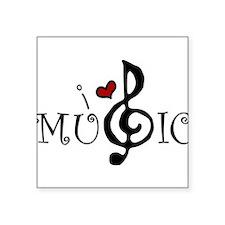 "I Love Music Square Sticker 3"" x 3"""