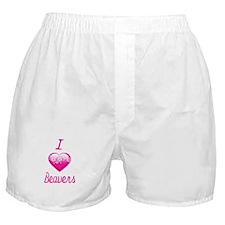 I Love/Heart Beavers Boxer Shorts