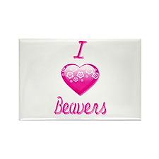 I Love/Heart Beavers Rectangle Magnet
