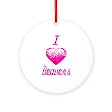 I Love/Heart Beavers Ornament (Round)