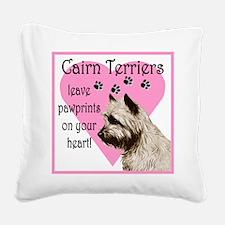 Cairn Pawprints Heart Square Canvas Pillow