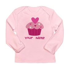 Personalized Cupcake Long Sleeve Infant T-Shirt