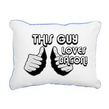 Loves Bacon Rectangular Canvas Pillow