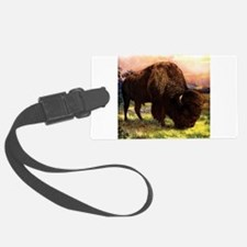 Vintage Bison Painting Luggage Tag