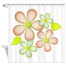 Soft Peach and Green Shower Curtain