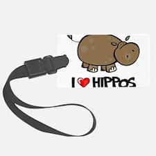 I Love Hippo Luggage Tag