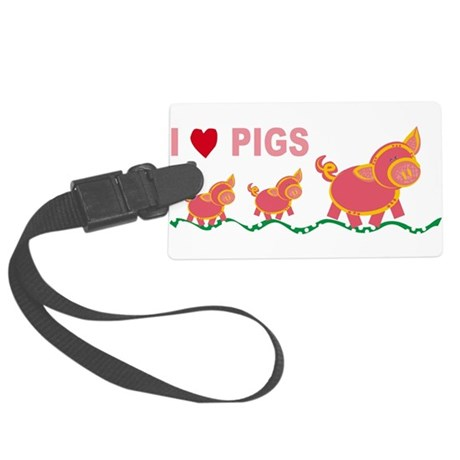I Love Pigs Large Luggage Tag