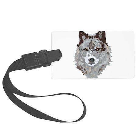 Wolf Illustration Large Luggage Tag
