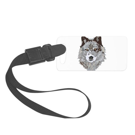 Wolf Illustration Small Luggage Tag