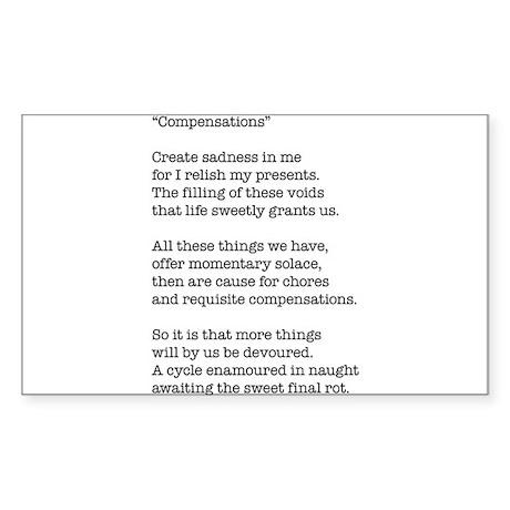 Compensations A Poem By Joe Monica Sticker (Rectan