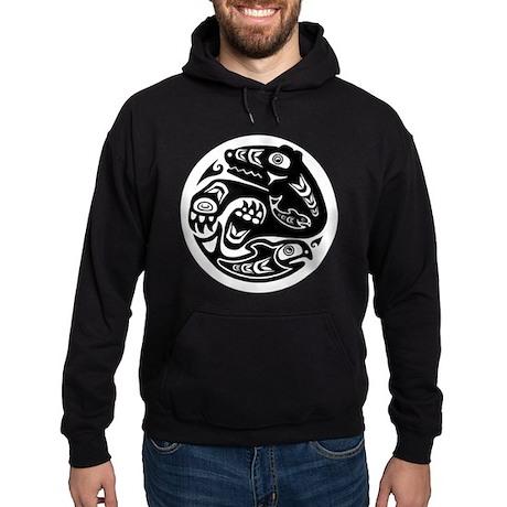 Bear & Fish Native American Design Hoodie (dark)