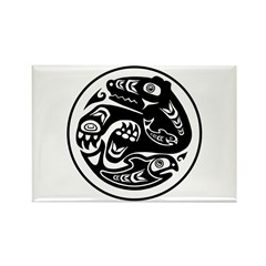 Bear & Fish Native American Design Rectangle Magne
