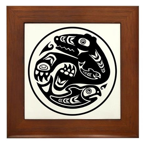 Bear fish native american design framed tile by brainburst for Native american tile designs