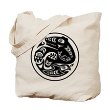 Bear & Fish Native American Design Tote Bag