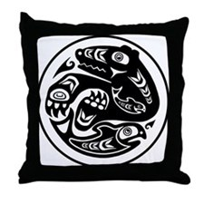 Bear & Fish Native American Design Throw Pillow