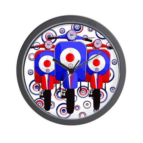 retro scooters on mod target design wall clock