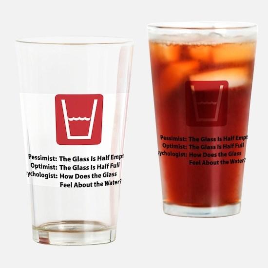 Unique Glass half empty Drinking Glass