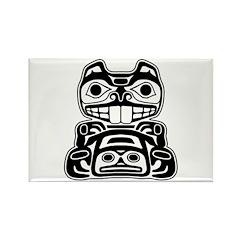 Beaver Native American Design Rectangle Magnet (10