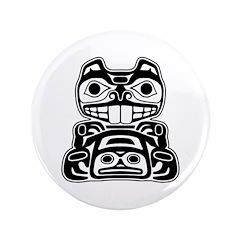 "Beaver Native American Design 3.5"" Button"