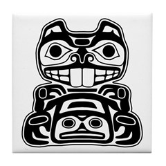 Beaver Native American Design Tile Coaster