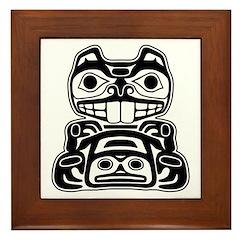 Beaver Native American Design Framed Tile