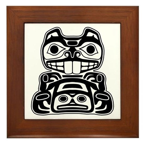 Beaver native american design framed tile by brainburst for Native american tile designs