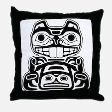 Beaver Native American Design Throw Pillow