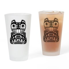 Beaver Native American Design Drinking Glass