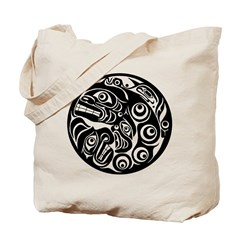 Circle of Faces Native American Design Tote Bag