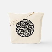 Circle of Faces Native American Design Tote Bag