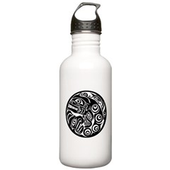 Circle of Faces Native American Design Water Bottle