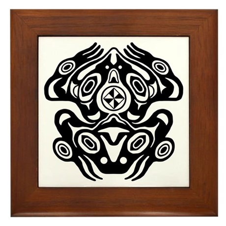 Frog native american design framed tile by brainburst for Native american tile designs