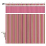 Pink and Brown Stripes Shower Curtain