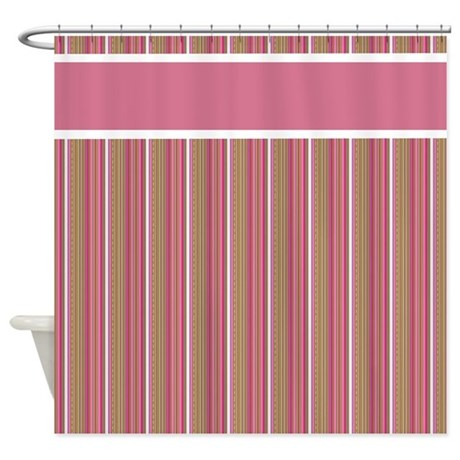pink and brown stripes shower curtain by stolenmomentsph. Black Bedroom Furniture Sets. Home Design Ideas