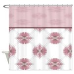 Pink Floral Feather Pattern Shower Curtain