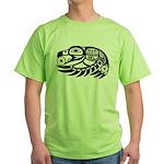 Raven Native American Design Green T-Shirt