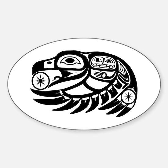 Raven Native American Design Sticker (Oval)