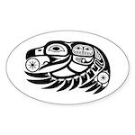 Raven Native American Design Sticker (Oval 50 pk)
