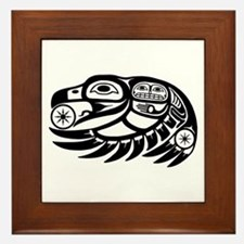 Raven Native American Design Framed Tile