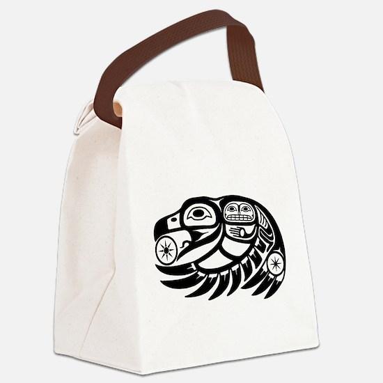 Raven Native American Design Canvas Lunch Bag