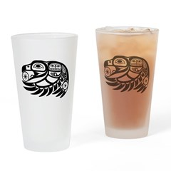 Raven Native American Design Drinking Glass