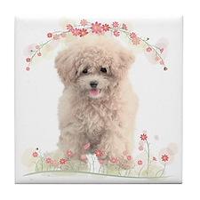 Poodle Flowers Tile Coaster