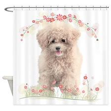 Poodle Flowers Shower Curtain